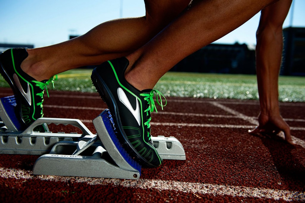 Running with spikes on track