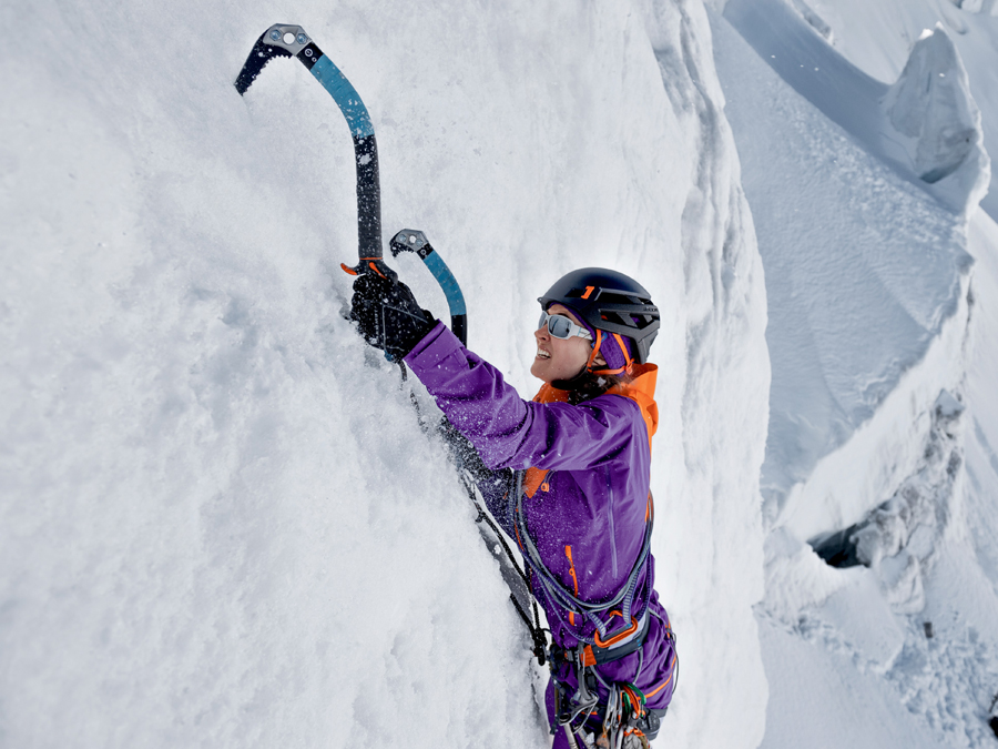 Mammut Eiger Extreme Eiswand Advanced Midlayer Hooded Jacket during a ice climbing session