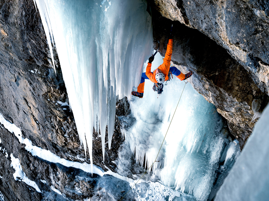 Mammut Eiger Extreme Nordwand Advanced HS Hooded Jacket while Ice Climbing