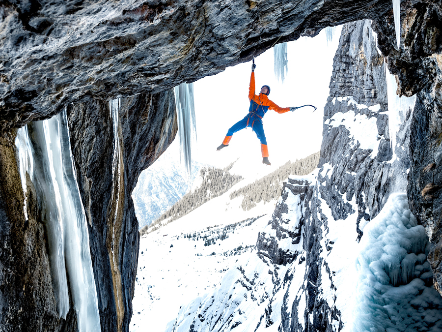 Mammut Eiger Extreme Nordwand Advanced HS Hooded Jacket during ice climbing session