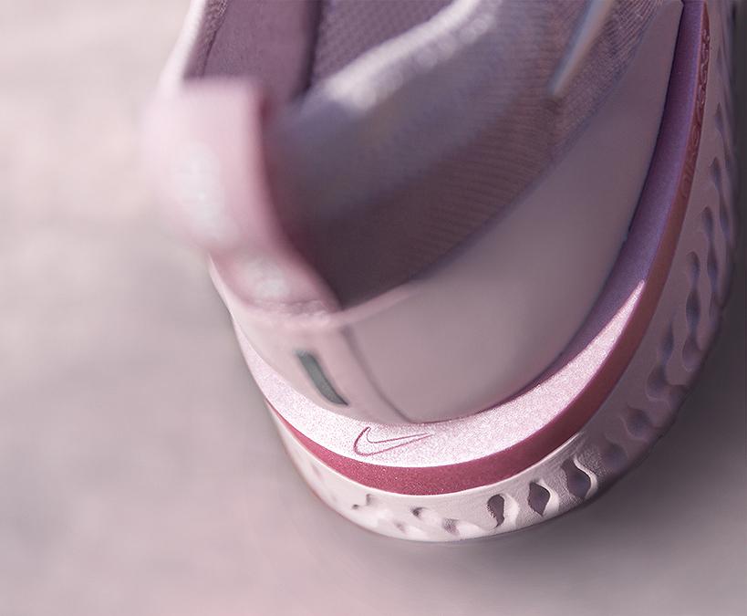Nike Epic React Pink heel