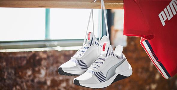 PUMA AMP X Trainignsschuhe red blue white Schuhe Selena Gomez Fitness Workout Training Kollaboration