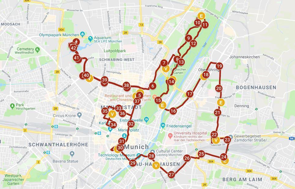 Strecke des Generali München Marathons