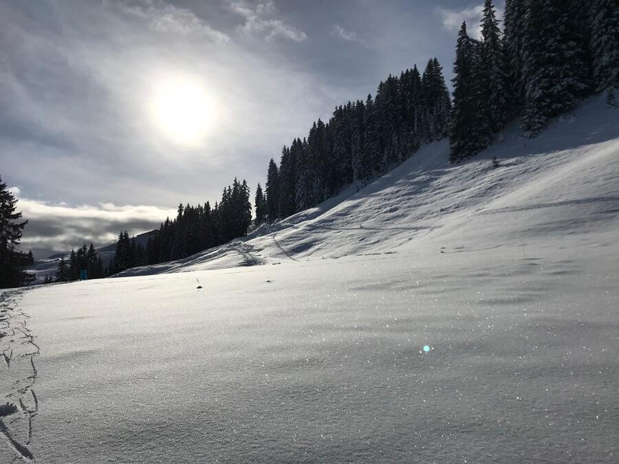 Sicherheit beim Skifahren Ski Piste Österreich Giro MIPS Skihelm Jackson Skibrille VIVID Article