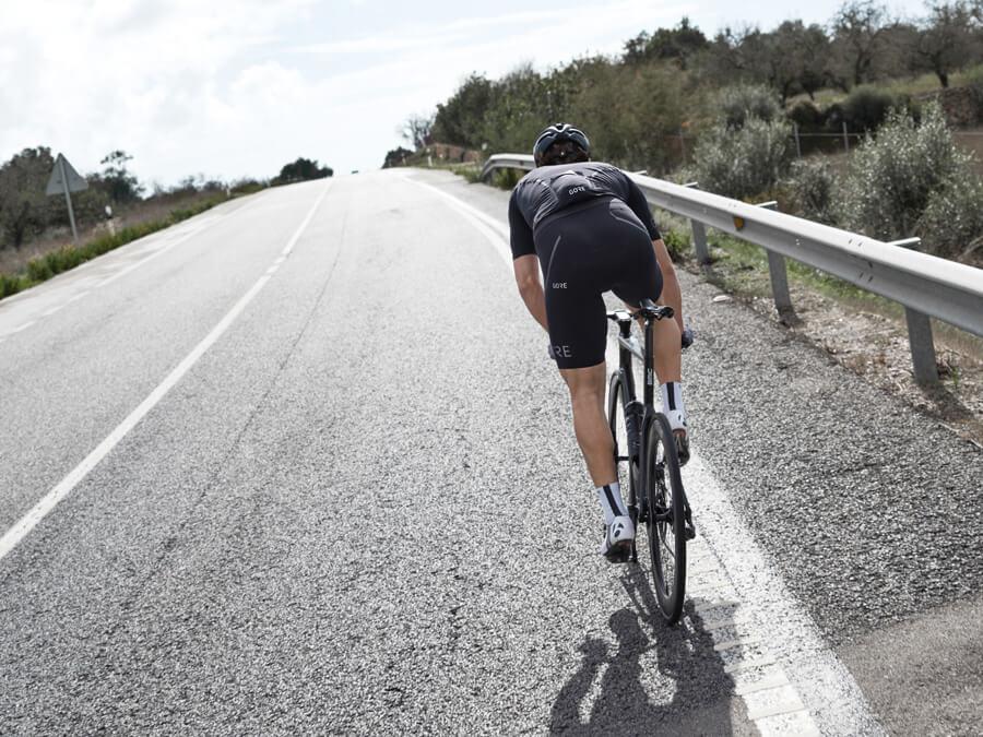 Fabian Cancellara Schweizer aus Bern Rad Sport Paris - Roubaix Team Champion im Swiss Cycling Interview GORE Wear Bib Short