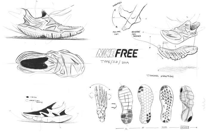 Nike Free RN 5.0 Laufschuhe Entwicklung Skizze 1