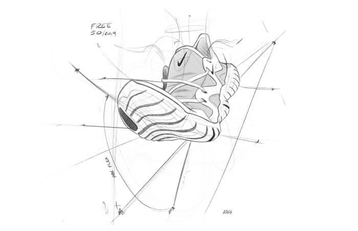 Nike Free RN 5.0 Laufschuhe Entwicklung Skizze 2