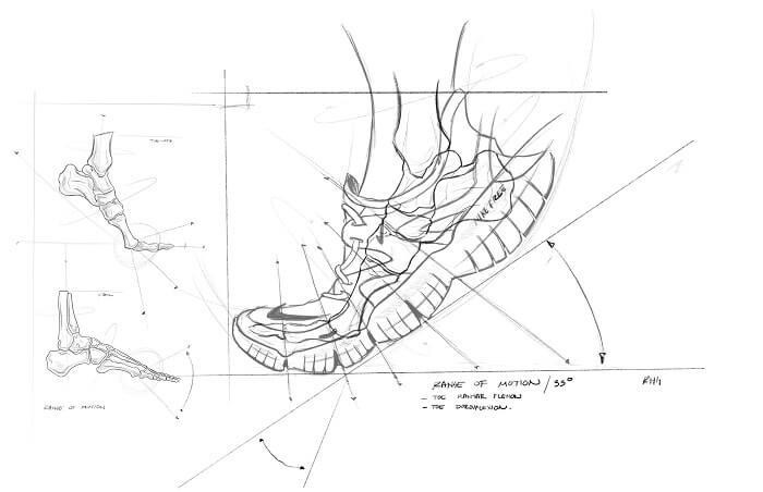 Nike Free RN 5.0 Laufschuhe Entwicklung Skizze 3