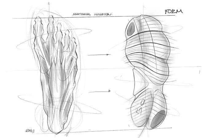 Nike Free RN 5.0 Laufschuhe Entwicklung Skizze 4