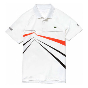 Lacoste Herren Tennisshirt weiß orange Polo Roland Garros Edition Novak Djokovic