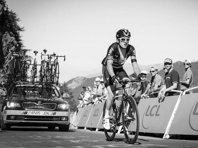 Tour de France Juli 2019 Fahrer von Team Sky mit Zuschauer entlang der Strecke