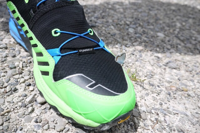 Die verstärkte Fußspitze der Dynafit Alpine Pro Outdoor Schuhe schützt den Fuß vor Steinschlägen
