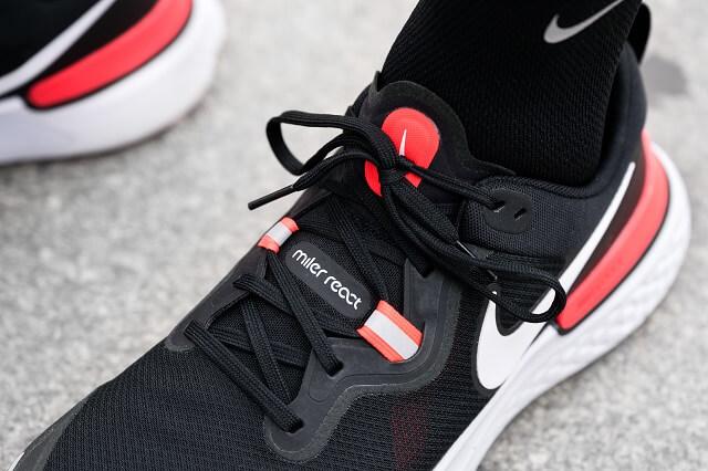 Die Schnürung und die verstärkten Nähte sorgen beim Nike React Miler 2020  für viel Stabilität im Mittelfuß