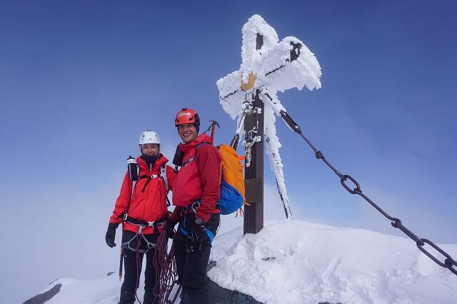 Gipfel Foto nach dem Skitouren und Bergsteiger auf den Großglockner 2020 #salewa3000