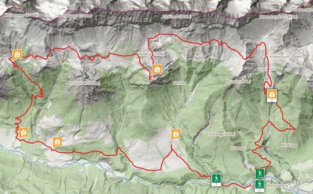 Route Hochalpen Rundwanderung Gaistal