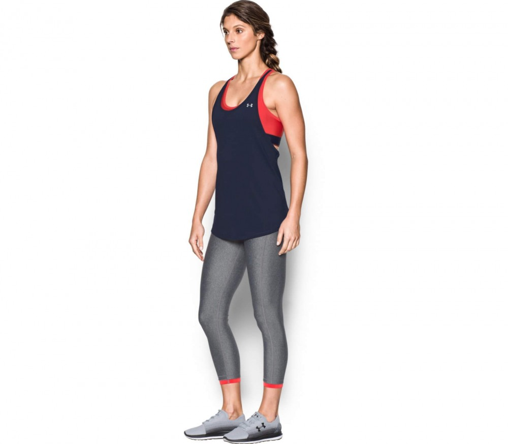 Under Armour - Heatgear Armour 2-in-1 Damen Trainingstank (rot/blau)