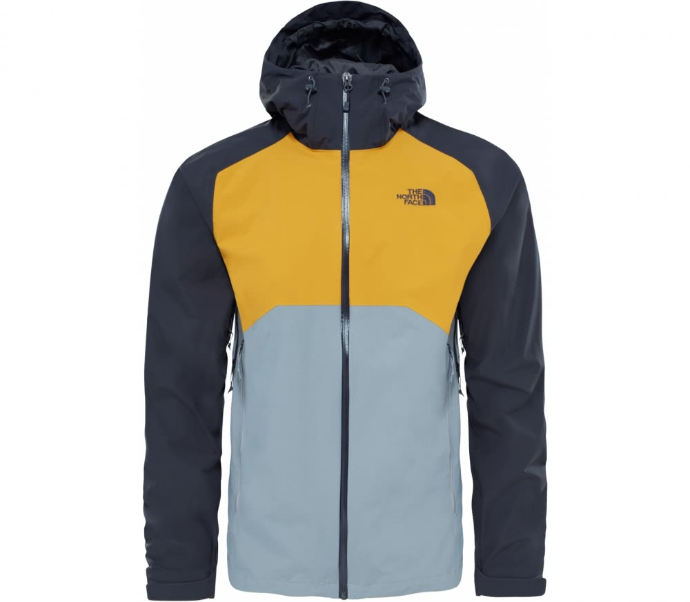 the north face stratos herren regenjacke grau gelb im online shop von keller sports kaufen. Black Bedroom Furniture Sets. Home Design Ideas