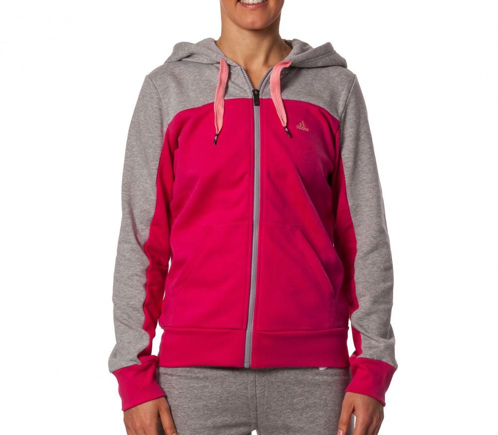 adidas essentialsentials hooded tracktop damen kapuzenpullover pink grau im online shop von. Black Bedroom Furniture Sets. Home Design Ideas