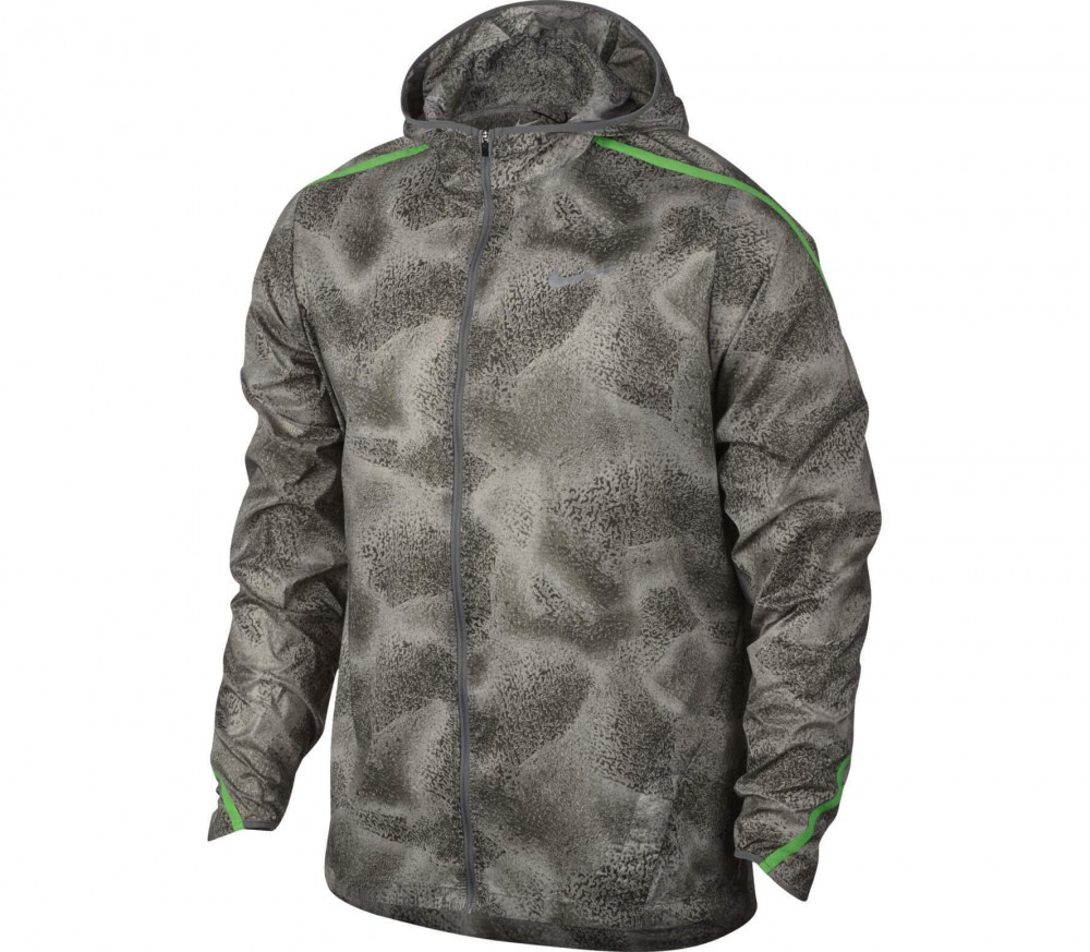 Nike - Shield Impossibly Light Herren Laufjacke (grau/hellgrün)
