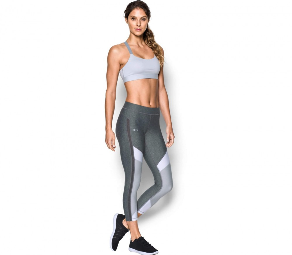 Under Armour - Heatgear Ankle Crop Damen Trainingstight (grau/weiß)