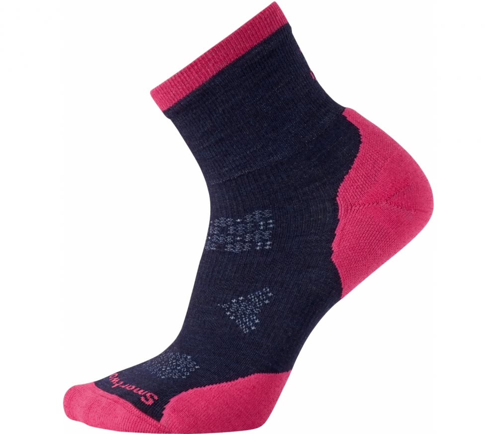 SmartWool - PhD Run Cold Weather Mid Crew Damen Laufsocken (dunkelblau/pink)