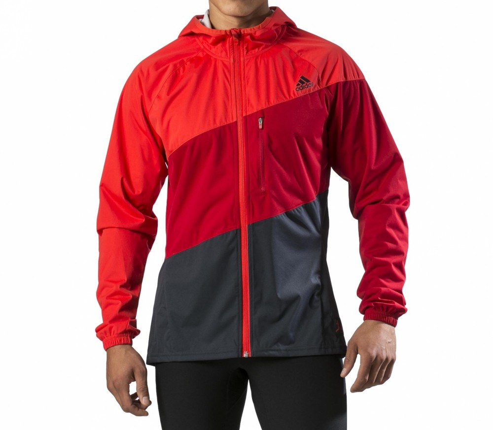 adidas aktiv hooded climaproof jacket herren laufjacke rot schwarz im online shop von keller. Black Bedroom Furniture Sets. Home Design Ideas