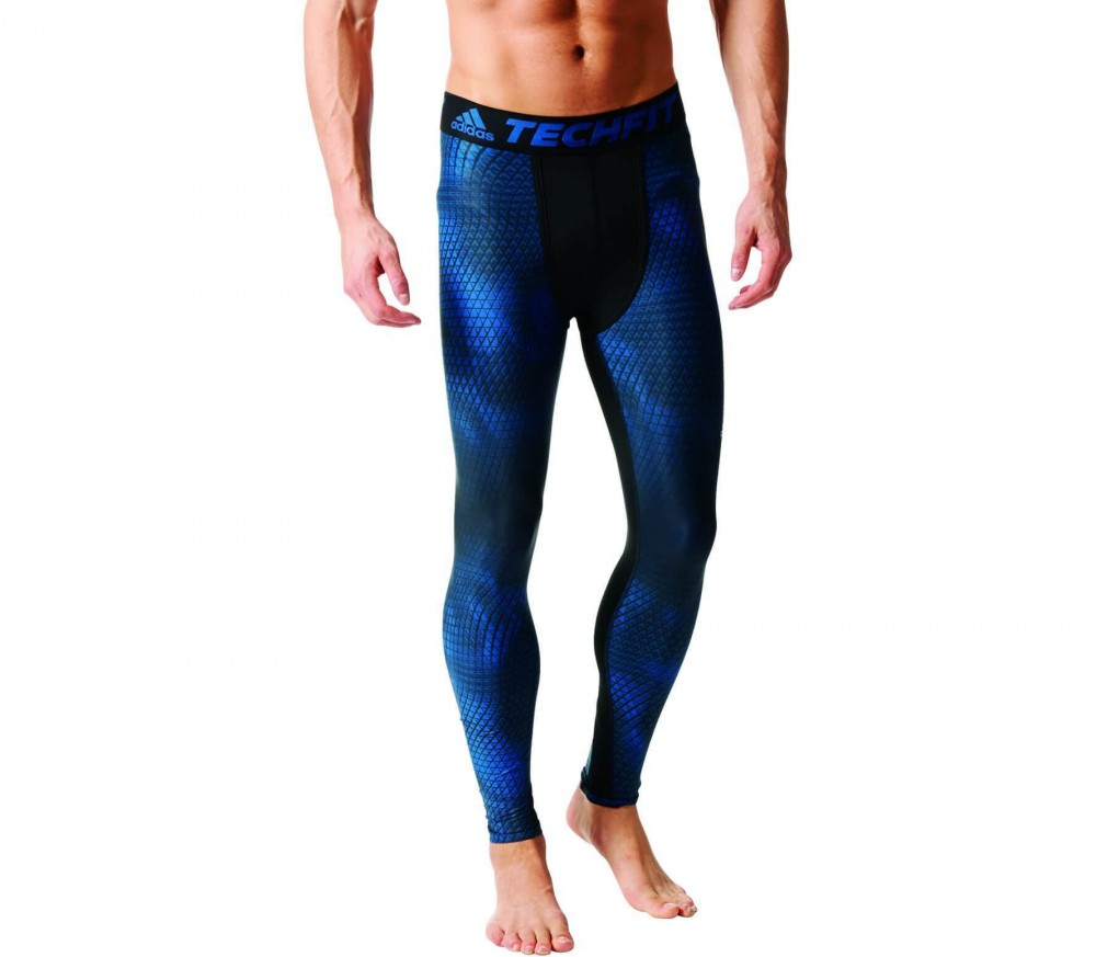 Adidas - Techfit Chill Graphic Long Tight Herren Trainingshose (dunkelblau/ schwarz)
