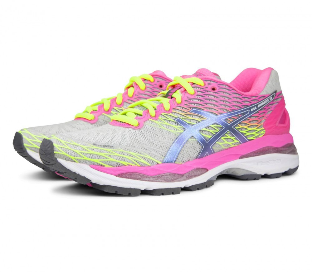 asics gel nimbus 18 damen laufschuh grau pink im online shop von keller sports kaufen. Black Bedroom Furniture Sets. Home Design Ideas