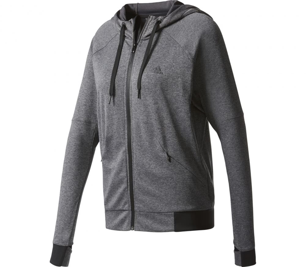 Adidas - Performance Full-Zip Damen Trainingshoodie (dunkelgrau/schwarz)