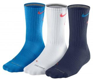Nike - Dri-Fit Fly Crew Herren Tennissocken - 3 Paar (blau/weiß/dunkelblau)