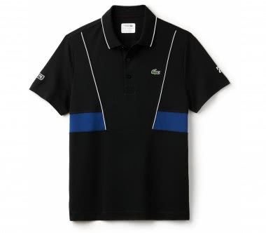 Lacoste - Short Sleeved Ribbed Collar Herren Tennispolo (schwarz/blau)