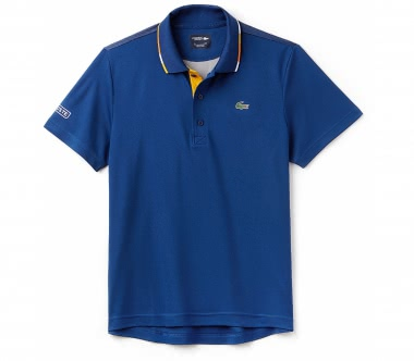 Lacoste - Short Sleeved Ribbed Collar Herren Tennispolo (blau/gelb)