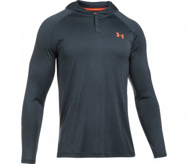 Under Armour - Tech Popover Henley Herren Trainingslongsleeve (grau/orange)