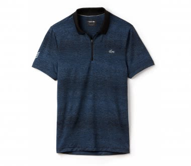 Lacoste - Short Sleeved Ribbed Collar Herren Tennispolo (blau/schwarz)