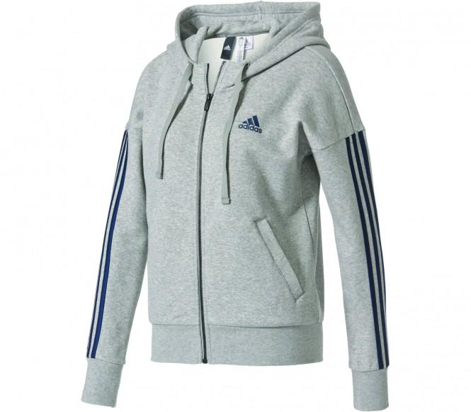 Adidas Essentials 3 Stripes Full-Zip women's training hoodie (grey-black) XS