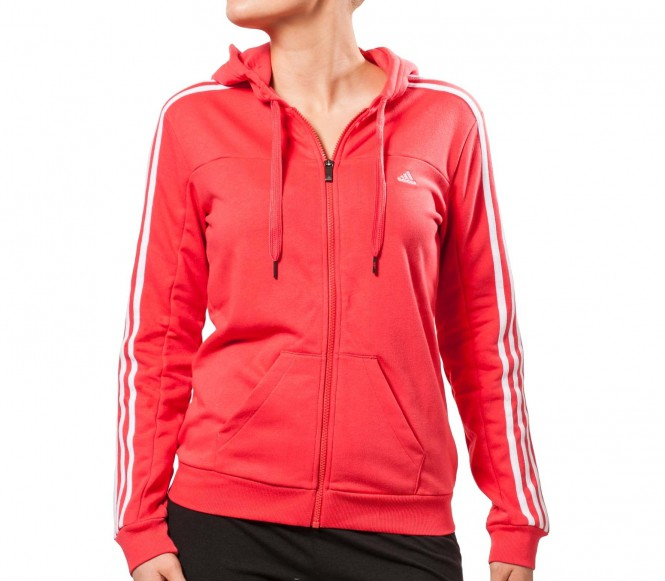 Adidas Fitness- en Training Jack Dames Essentials 3 Stripes Hooded Tracktop XS rood