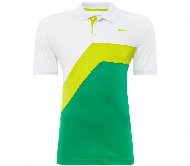Head Snap Button Herr Tennispolo (vit/grön) M