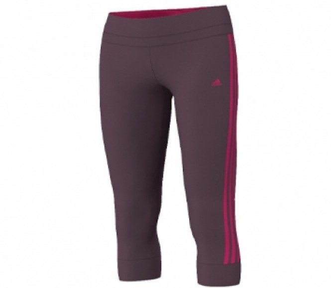 Adidas Clima Essentialsentials 3 Stripes 3/4 Tight Dam FitnEssentials Byxor (mörklila/pink) L