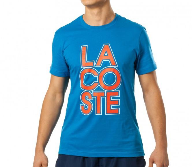 Lacoste Branding Bomull Herr Tennisshirt (blå) XL