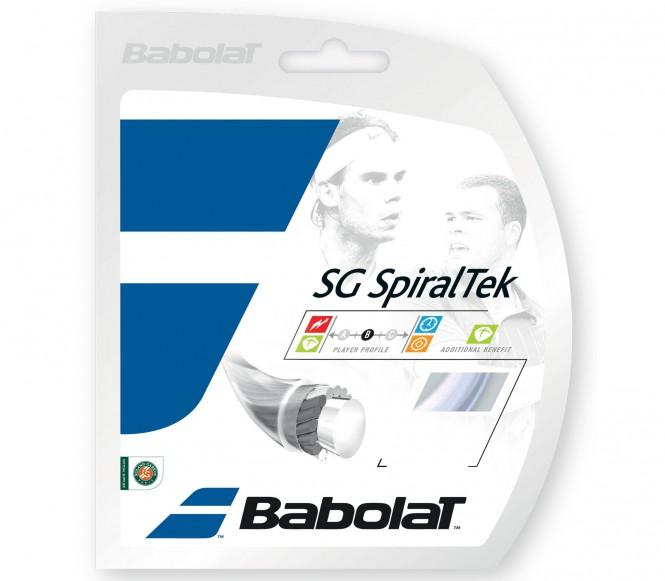 cordages de tennis - BABOLAT SG SPIRALTEK 12M  NOIR  1,35MM