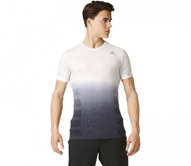 adidas Men's Primeknit Wool Dip-Dyed Running T-Shirt White-Black L
