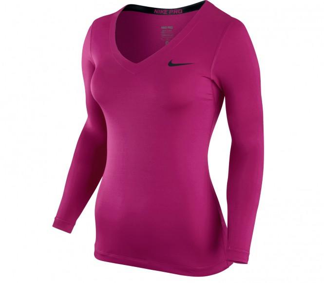 Nike Pro Longsleeve V-Neck dam träningsshirt (rosa/svart) L