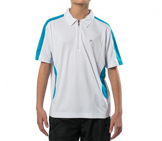 Head Club Zip Junior Tennispolo vit/ljusblå 164 116