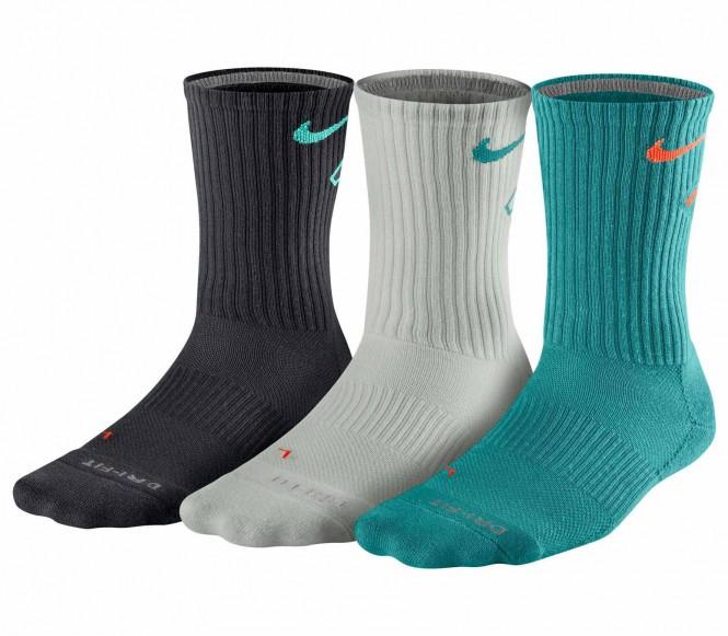 Nike Dri-Fit Fly Crew träningsstrumpor 3 styck (blå/grå/turkos) L (EU 43 46) L (EU 43 46)
