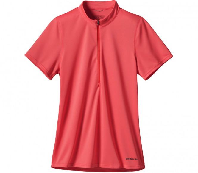 Patagonia fore runner zip neck shortsleeve femmes fonction t chemise rouge clair l chez Keller Sports