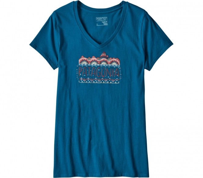 <strong>Patagonia</strong> femme fitz roy v neck t shirt logo pour femmes bleu xs