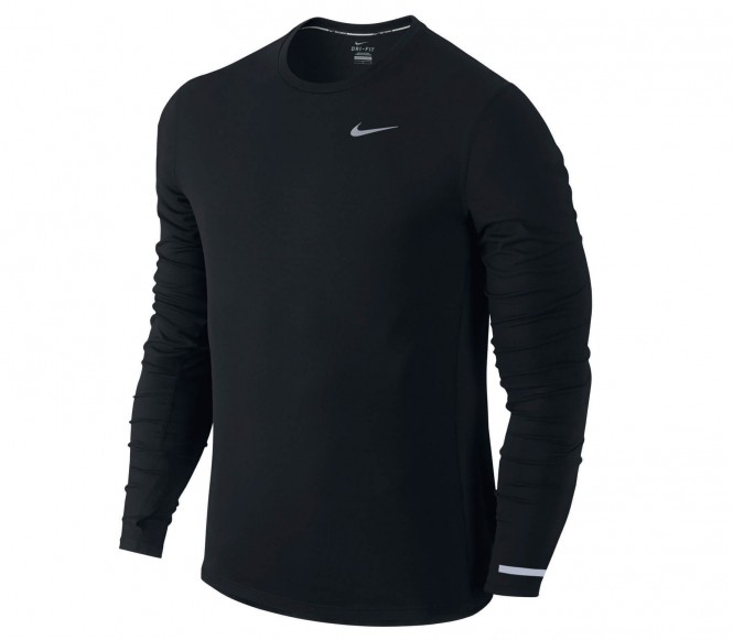 Nike Dri-FIT Knit running T-shirt met lange mouwen in zwart